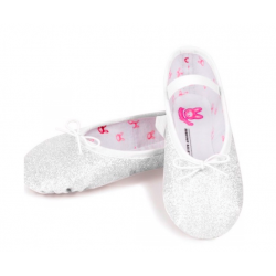 WHITE GLITTER BALLET SHOES...