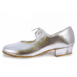 SILVER LOW HEEL TAP SHOES