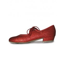 RED GLITTER TAP SHOE LOW HEEL